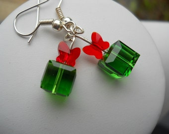 Present Earrings present boxes earring swarovski Crystal earrings green Christmas cubes red bows handmade dangle earrings