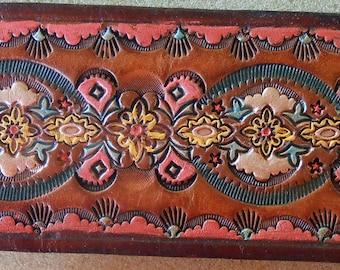 Brown Border Leather Wrist Band Cuff Original Design OOAK