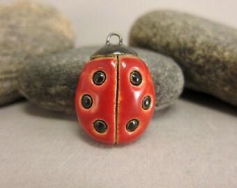 Ceramic Ladybug Pendant...Six Dots