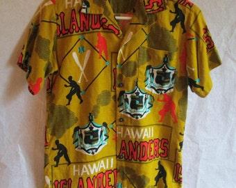 Vintage Malihini Hawaiian Islanders Barkcloth Shirt Boys