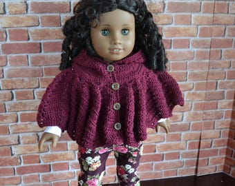 18 inch Doll Clothes - Crocheted Hooded Poncho Sweater - Raspberry Burgundy Maroon Garnet - MADE TO ORDER - fits American Girl