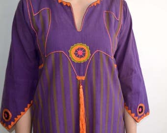 Vintage Josefa Kaftan Dress with Tassel/ Purple Orange Embroidered Mexican Maxi Dress/ Bell Sleeves/ Medium