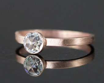 Rose Cut Moissanite Engagement Ring - 14k Yellow or Rose Gold