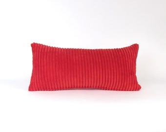 Corduroy Pillow ~ Red Lumbar Pillow ~ Bright Red Toss Pillow ~ Small Red Pillow ~ Red Decorative Pillow ~ Child's Pillow ~ Nursery Pillow