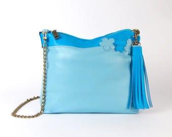 Blue Leather Purse - Light Blue Handbag - Blue Italian Leather Bag - Cyan Blue - Sky Blue - Blue Leather Shoulder Bag - Spring Blossoms Bag