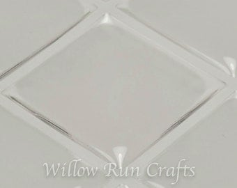100 Pack 25mm Square Clear Epoxy Domes Stickers, 1 inch Square Epoxy, (01-05-220)  Resin Stickers for Pendant trays