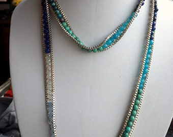 Unusual Multi Stone Ombre Sterling Necklace - 33 inches long - Tourquoise - Jasper - Lapis Lazuli - Crystal - Sterling Silver