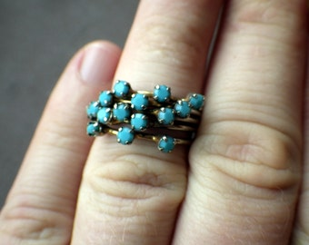 Vintage 1960s Stacked Ring - Faceted Blue Crystal - Austria Size 7