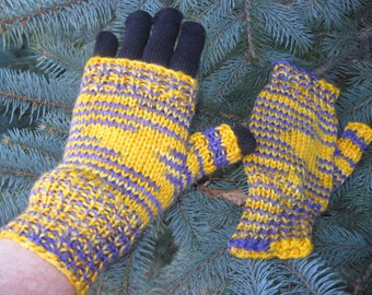 Purple and Gold Striped Half Mitts - Size Average to Large