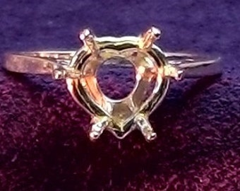 Sterling Silver ~ 10mm Heart Shape DEEP Ring setting / Mounting ~ Custom sized from 5 to size 12 ~ to be ordered ~ #632 ~ FDK