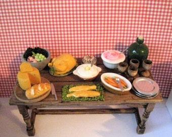 DollhouseTable,Tudor, Filled table,  Medieval, Tudor Food, Tudor table,  country  style, twelfth scale dollhouse piece