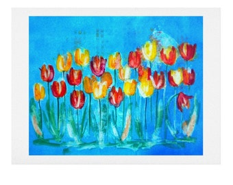 Tulips in Blue Watercolor Print