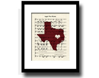 Aggie War Hymn, Texas Aggies Art Print, Texas A & M Art Print, Texas Aggies Fight Song Art, Texas Print, Sheet Music, College Football