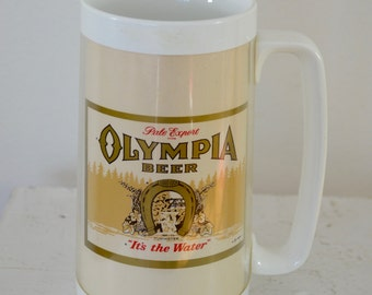 on sale Vintage OLYMPIA Beer Thermo Serv Plastic Mug 1960's 70's made in USA oly