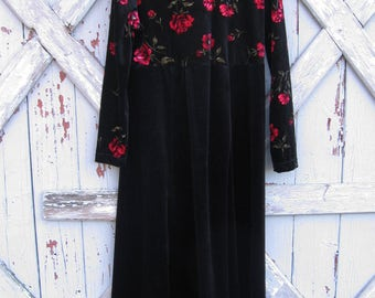 1990s Coldwater Creek rich floral black velvet stretch dress  M L