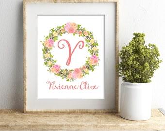Personalized Nursery Print, Baby Girl Nursery Wall Decor, Custom Name Print, Nursery Wall Art, Girl Wall Art, Floral Monogram, Coral Nursery