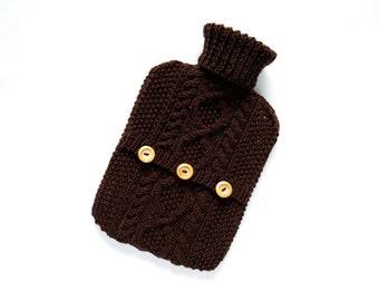 Hot water bottle cover / sweater - wool rich blend - Coffee Bean. Hand Knit Bottle Cosy / Cozy.
