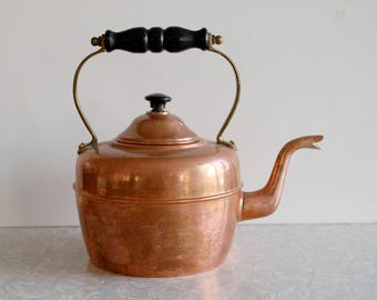 copper tea kettle, made in england, teapot, brass & wood handled, stovetop, new england colonial americana decor, rustic cabin cottage,