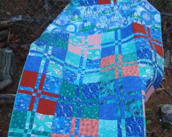 Blue and Green Tropical Sailboat Seahorse Baby Lap Throw Quilt