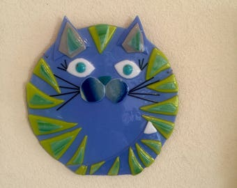 Big Blue Green Fused Glass Cat Wall Art Whimsical Decor Plaque Plate