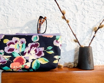 Floral Boho Pouch, Cosmetic Bag, Pencil Pouch, Zipper Pouch, Fabric Pouch, Pouch, Gift for Her, Gift Under 20, Floral in Purple and Blue