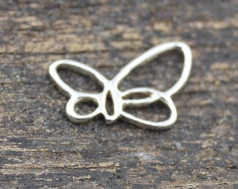 Sterling Silver Small Butterfly Pendant 7x11 mm, Sterling Openwork Solid 925 Silver, FH6XS