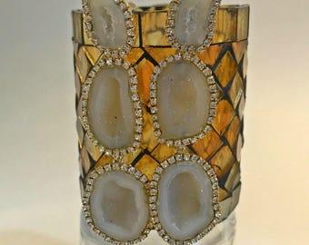 Tabasco Geode Earrings Diamond Bezel Style Triple Slice Earrings Ivory Tabasco Geode Druzy Wedding Statement Earrings Boho Beach Bride
