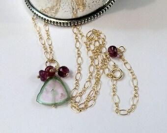 Sale 25% Watermelon Tourmaline Slice Necklace, 14kt Gold Fill, Wire Wrapped, Minimalist Jewelry, Simple Everyday, Pink Gemstone Slice