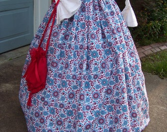 Colonial,Civil War,Victorian, Long SKIRT for camp dress one size fit all Large red, blue and teal floral print with blue sash