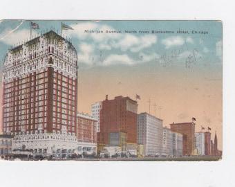 Vintage 1917 post card Michigan avenue north from Blackstone hotel Chicago