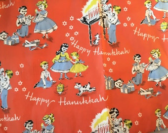 Absolutely Fabulous 1950's Hanukkah Giftwrap with Children Dog Dreidel More! 2 Full Sheets