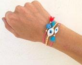 Evil eye cord bracelet, colorful stacking eye friendship bracelet, Marti traditional Greek bracelet, hippie dainty boho eye tassel bracelet