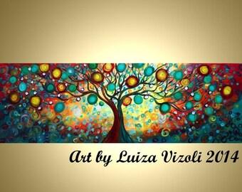 "Original 72"" Abstract HUGE Tree Landscape Whimsical Large Painting Inner Journey XXL Art by Luiza Vizoli"