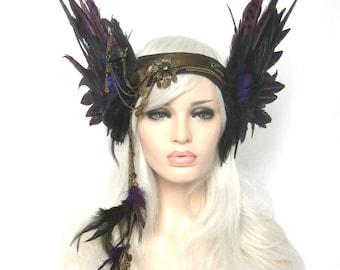 Winged headwear Headpiece, Feathered headwear, gypsy, tribal, fusion, warrior: by Renegade Icon designs