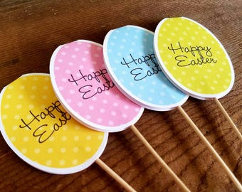 Easter Party - Set of 12 Assorted Easter Egg Cupcake Toppers by The Birthday House
