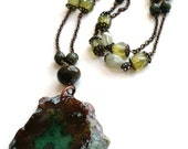 ON SALE Semi precious agate slice with vintage and reclaimed beads handmade pendant necklace