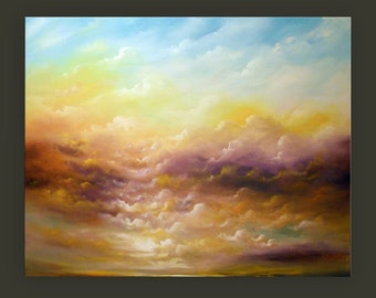 art painting wall art painting art abstract painting landscape tree painting original painting yellow acrylic cloudscape HUGE 48 x 64""
