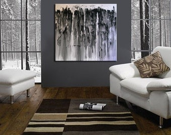 48 x 48 original painting wall art mixed media acrylic painting living room décor black white neutral tones winter colors