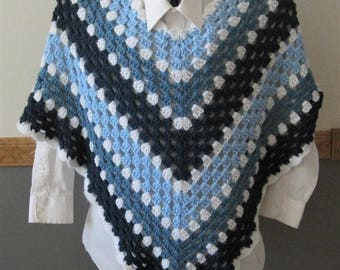 Crocheted Classic Granny Square Poncho - Shades of Blue