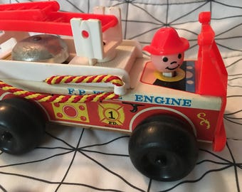 1968 Fisher Price Fire Truck Engine Little People Vintage - toy