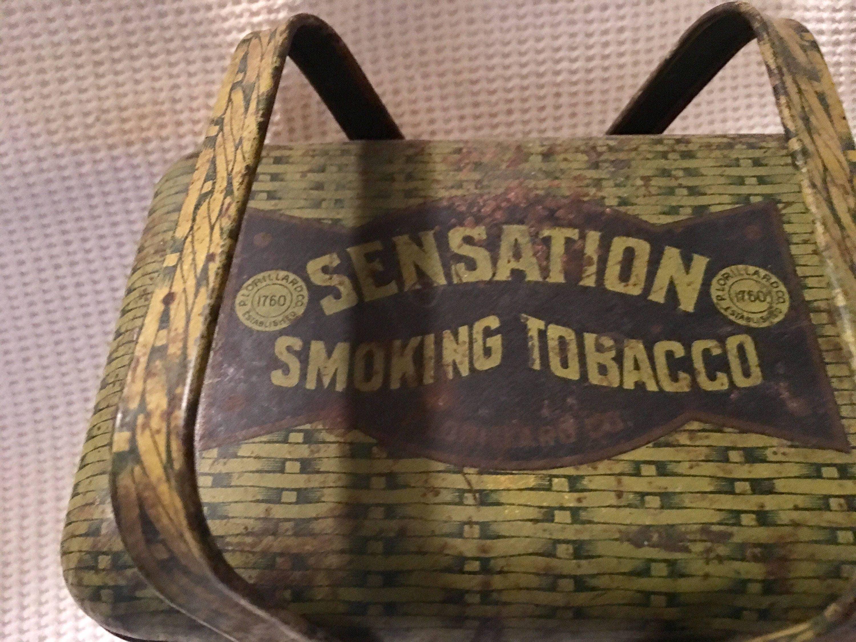Basket Weaving North Carolina : Vintage sensation smoking tobacco basket weave lunch box tin