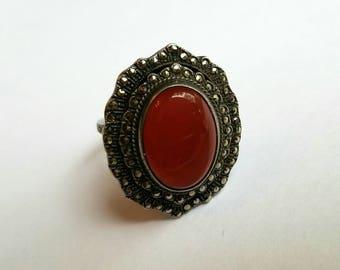 Art Deco Sterling Carnelian Ring Marcasite Border Size 8.5