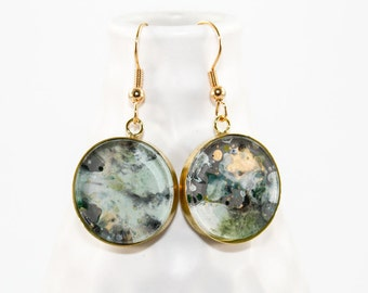 Abstract Art Drip Painting - Dangle Earrings - Painted Acrylic in Round Brass Setting - Gray, Emerald Green, Gold, Aqua (Original Painting)