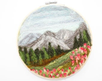 Needle Felted Landscape - Embroidery Hoop Fiber Art - Mountain Valley with Wild Flowers