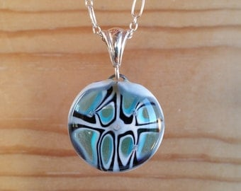 """Turquoise Fused Glass Millefiori Necklace on 18"""" Sterling Silver Chain"""
