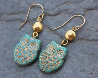 Gilded Owl Earrings - Gold washed turquoise glass bird beads and faceted gold plated beads on 14k gold filled earwires - free shipping USA