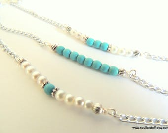 Gemstone Bar Bracelet, Turquoise and Pearl, Individually or as a Set of 3, Handcrafted Jewelry, Minimalist Jewelry, Turquoise Jewelry