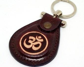 Om Symbol Leather Keychain - Namaste Keyhcain - Yoga Keychain - Aum Symbol Keychain - Leather Ohm Keychain- FREE Shipping Worldwide