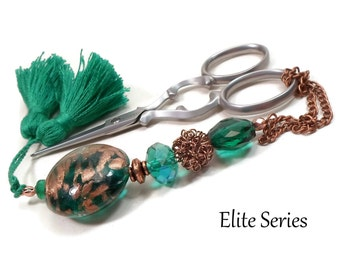 Beaded Handmade Scissor Fob Emerald Green Copper Elite Series Quilting Sewing Cross Stitch Gift for Crafter DIY Crafts