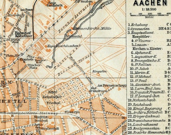 Antique Map of Aachen, Germany - 1909 Aachen Map